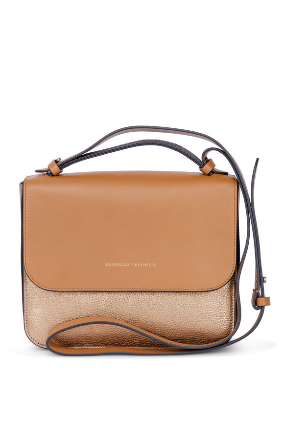 Brunello Cucinelli Havana & Gold Monili Top Handle Crossbody