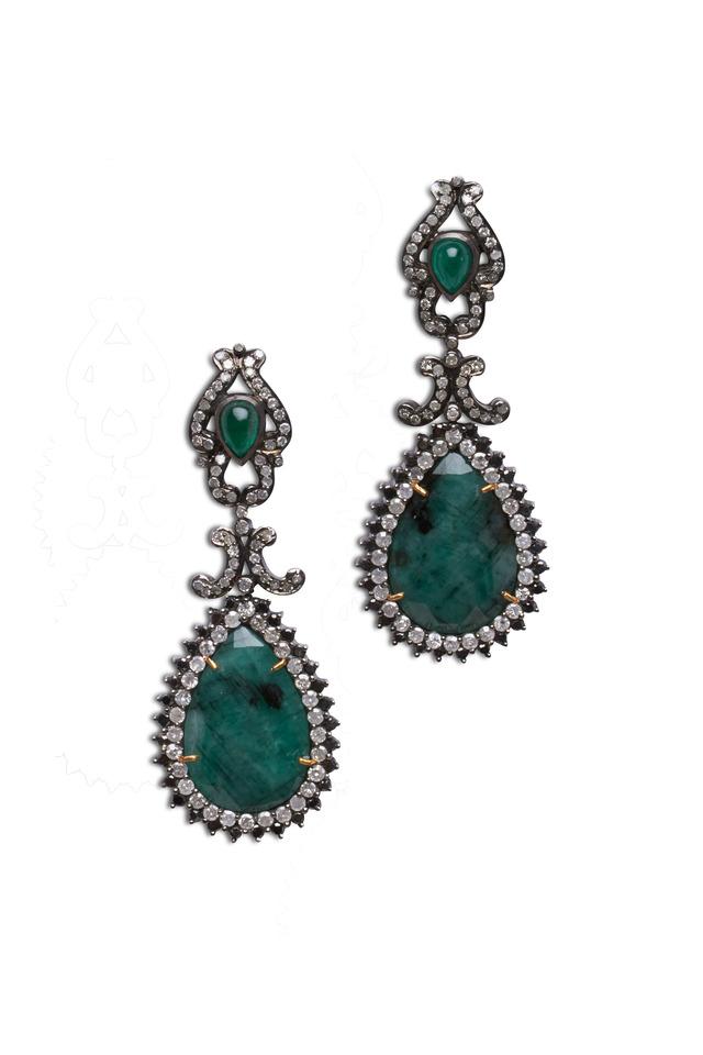 Sterling Silver Green Emerald Earrings