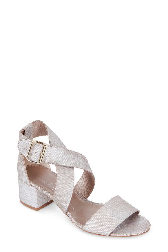 AGL Ginger Silver Textured Leather Sandal, 60mm