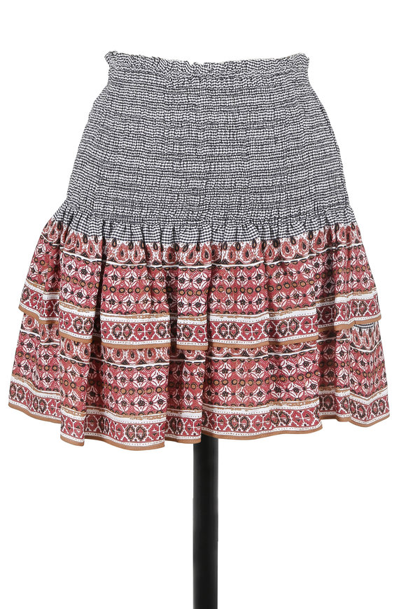 Veronica Beard Moore Terracotta Silk Tiered Mini Skirt