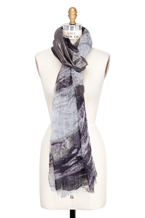 Brunello Cucinelli Grey & Metallic Silver Marbled Linen Scarf
