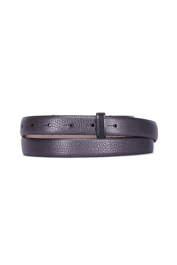 Brunello Cucinelli Graphite Metallic Pebbled Leather Belt