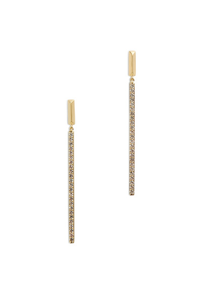 Elizabeth & James - Bauhuas Yellow Gold White Topaz Long Bar Earrings