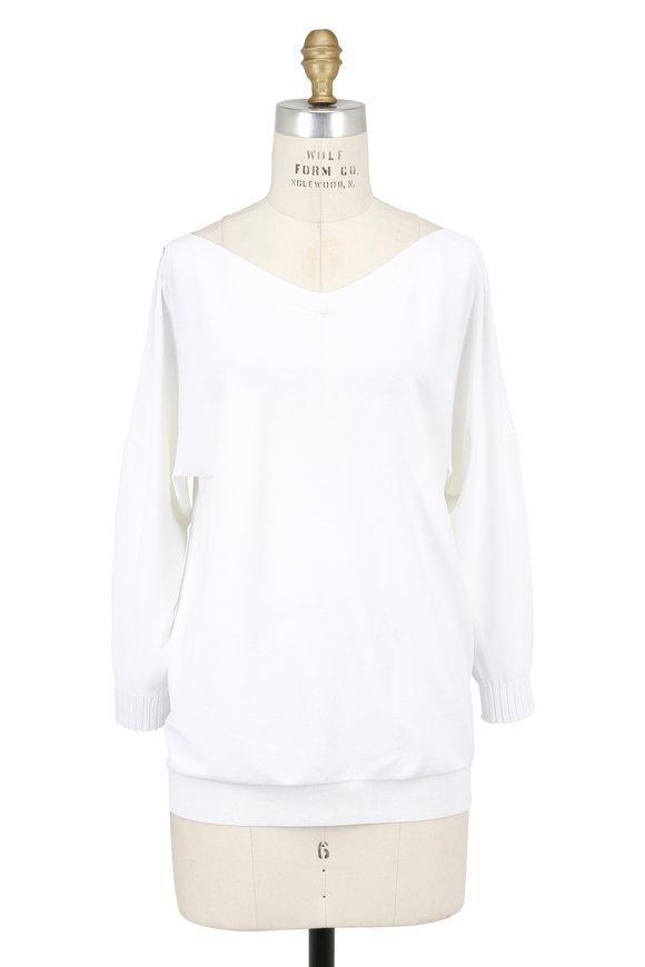D.Exterior White Knit Cold Shoulder Sweater