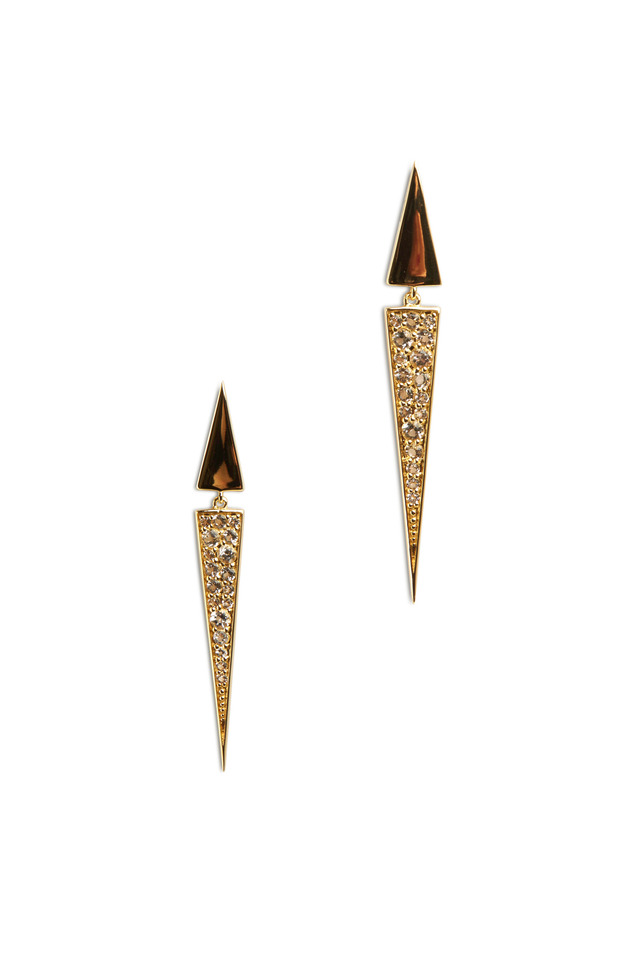 Bauhaus Gold Pavé-Set Topaz Triangle Earrings