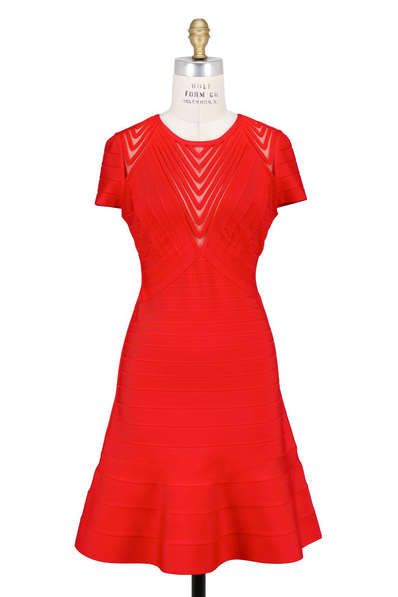 Herve Leger Hilary Bright Poppy Tulle Inset Cap Sleeve Dress
