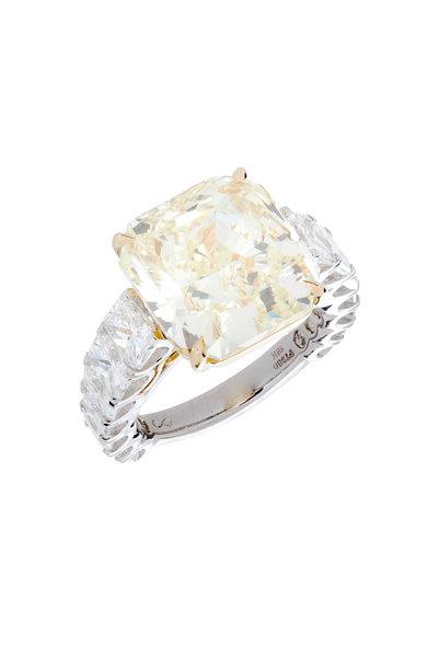 Louis Newman - Platinum Fancy Yellow Diamond Bridal Ring