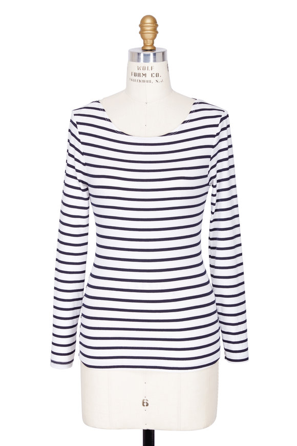 Frame Navy & White Striped Boatneck Top