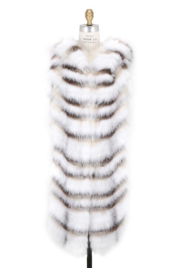 Oscar de la Renta Furs Artic Marble Frost & Golden Island Fox Hooded Vest