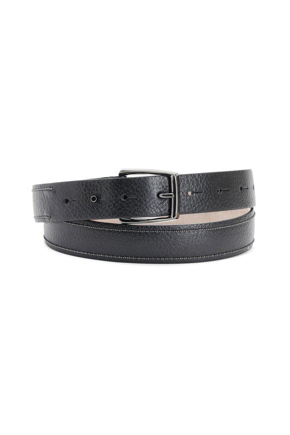 Brunello Cucinelli Black Leather Two-Stripe Monili Belt