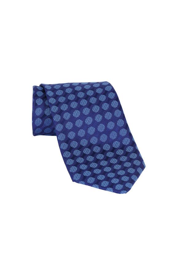 Charvet Navy Blue Swirls Silk Necktie