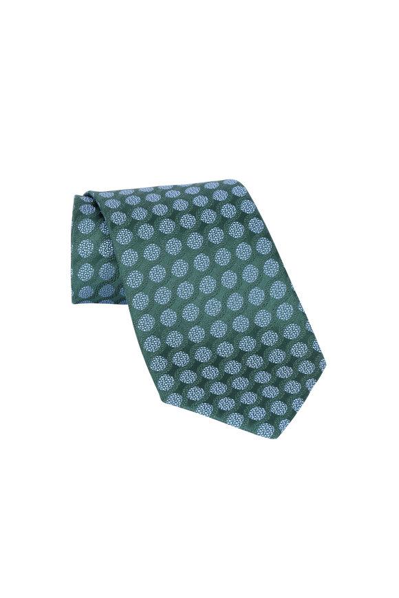 Charvet Green & Blue Swirls Silk Necktie