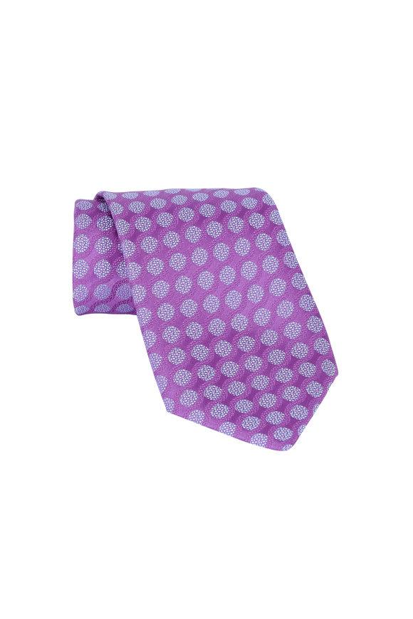 Charvet Purple & Blue Geometric Silk Necktie