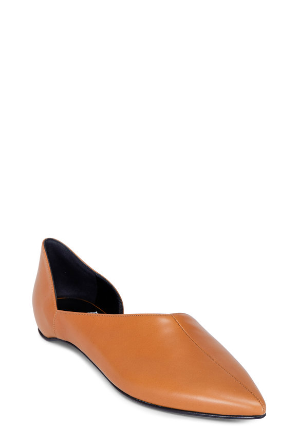 Pierre Hardy Dorsay Camel Leather Pointed Flat
