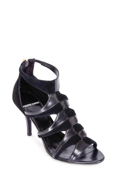 Pierre Hardy - Black Suede & Leather Back Zip Sandal, 80mm