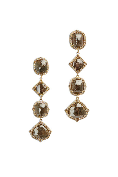 Sutra - Yellow Gold Rough Diamond Drop Earrings