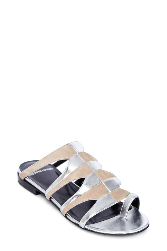 Pierre Hardy Nude Suede & Silver Lamb Leather Flat Sandal