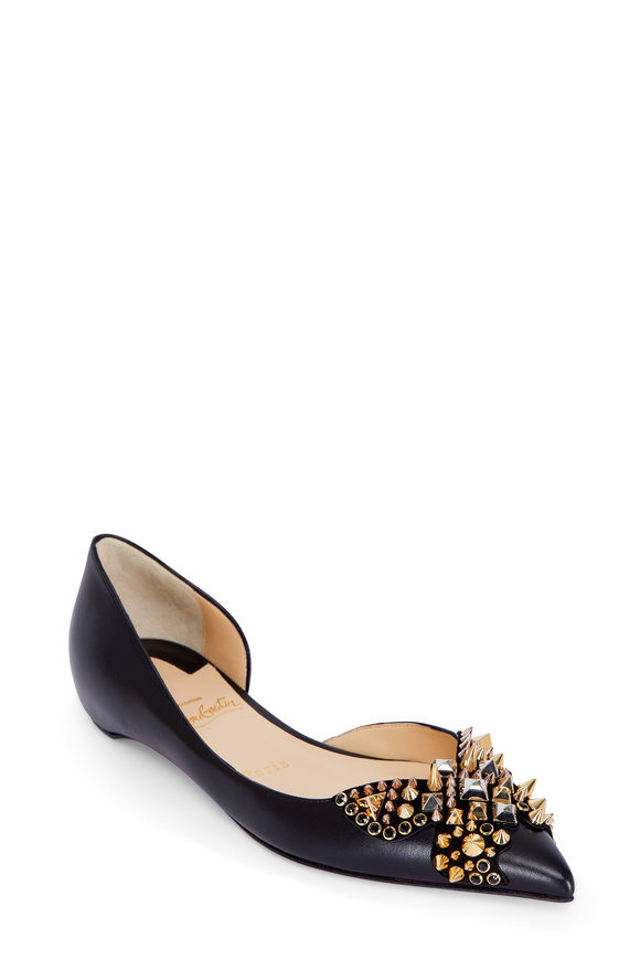 Christian Louboutin Gold & Black Butterfly Studded Flat