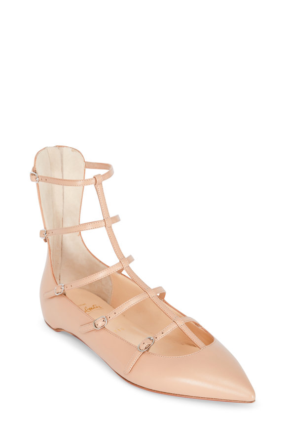 Christian Louboutin Toerless Nude Leather Cage Flat