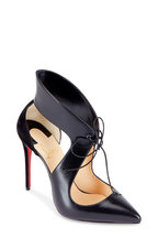 Christian Louboutin - Ferme Black Suede & Leather Tie Pump, 100mm