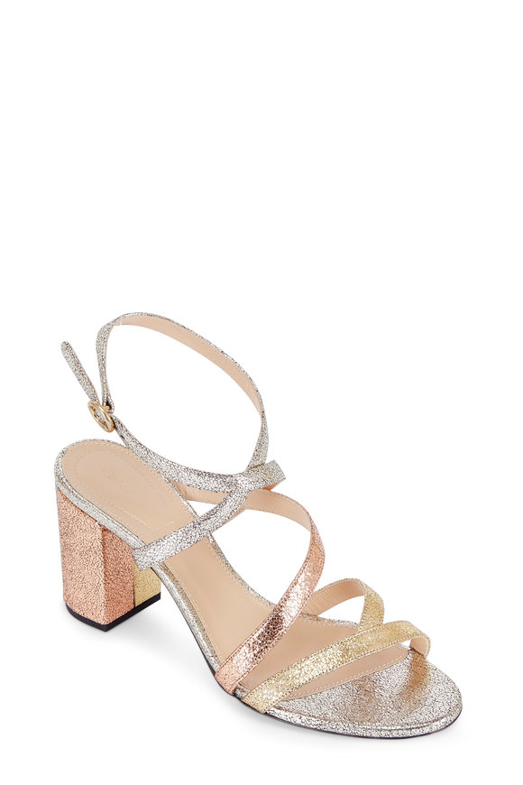 Chloé Mila Mixed Metal Leather Ankle Wrap Sandal, 70mm
