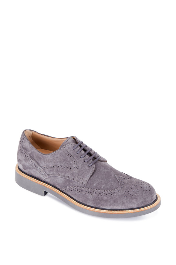 Tod's Gray Leather Wingtip Light Sole Derby