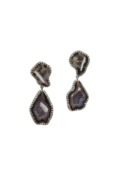 Kimberly McDonald - White Gold Dark Geode Diamond Dangle Earrings