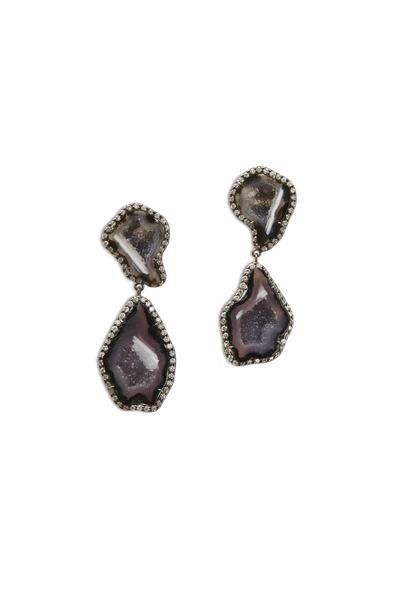 Kimberly McDonald - White Gold Dark Geode Diamond Dangle Earrings