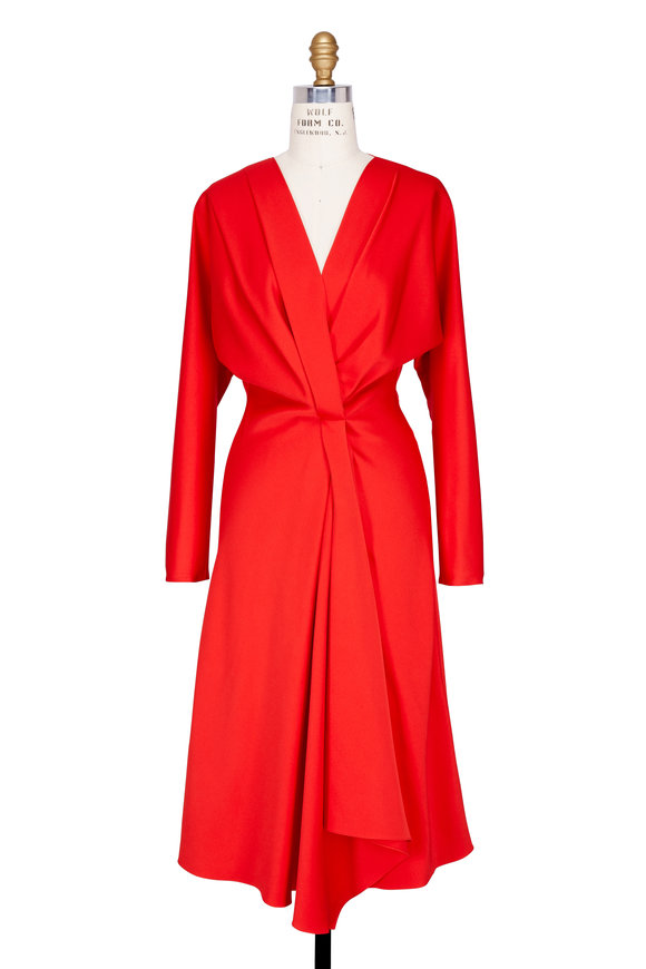 Victoria Beckham Candy Red Draped Front Long Sleeve Dress