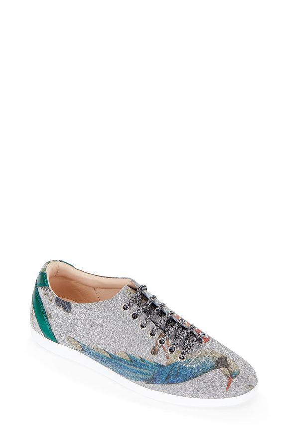 Gucci Silver Metallic Tian Print Sneaker