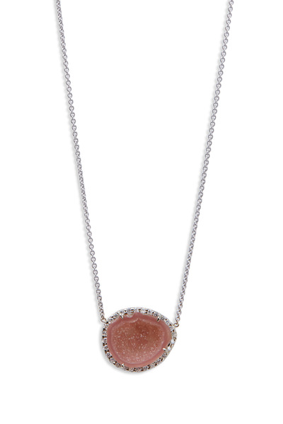 Kimberly McDonald - Geode Pendant White Gold Necklace