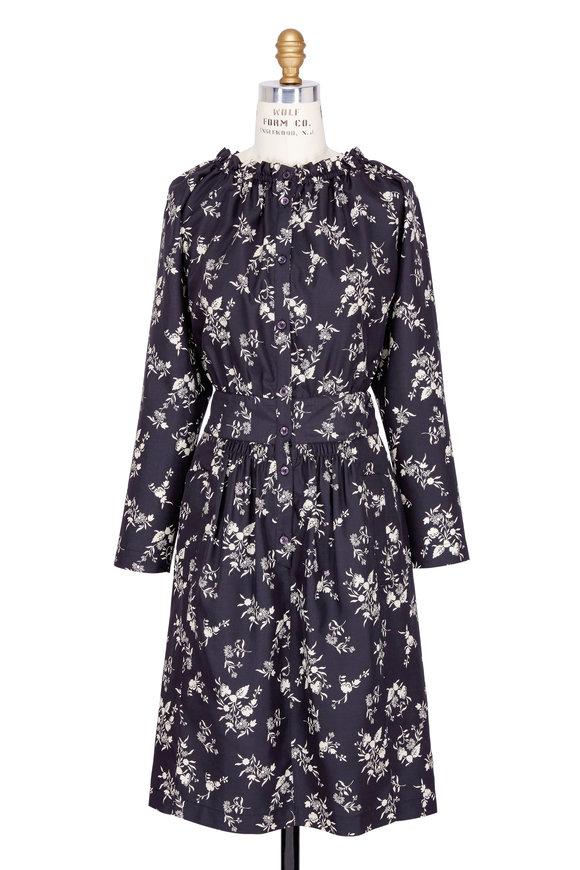 Etro Abito Black & White Silk Floral Print Dress