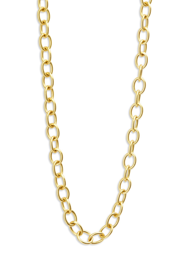 Yellow Gold Oval Link Necklace
