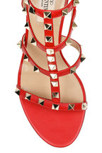 Valentino Garavani - Rockstud Red Leather Cage Sandal, 75mm