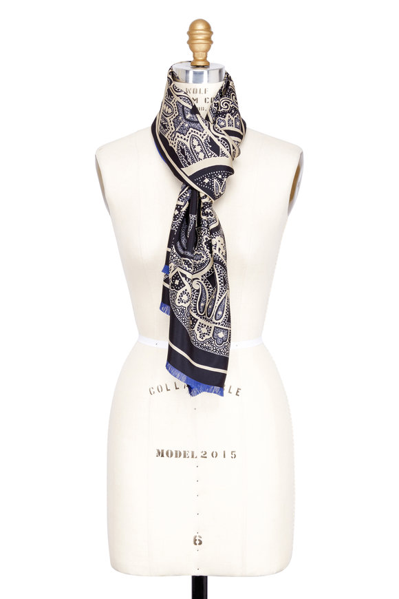 Etro Blue & Black Reversible Printed Silk Scarf