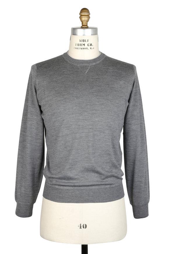 Brunello Cucinelli Dark Gray Wool & Cashmere Crewneck Sweater