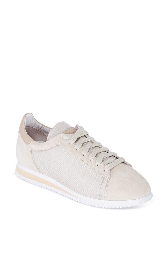 Brunello Cucinelli Suede Sand Lace-Up Sneaker