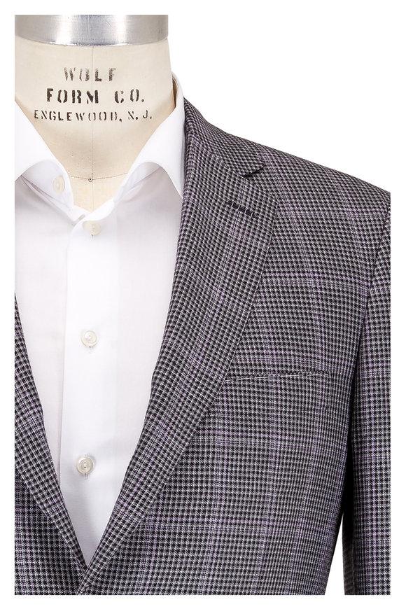 Brioni Black & Gray Check Cashmere & Silk Sportcoat