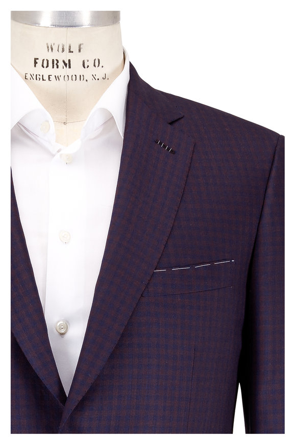 Brioni Brown & Navy Blue Check Wool & Silk Sportcoat