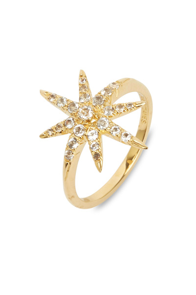 Elizabeth & James - Northern Star Yellow Gold Plate White Topaz Ring
