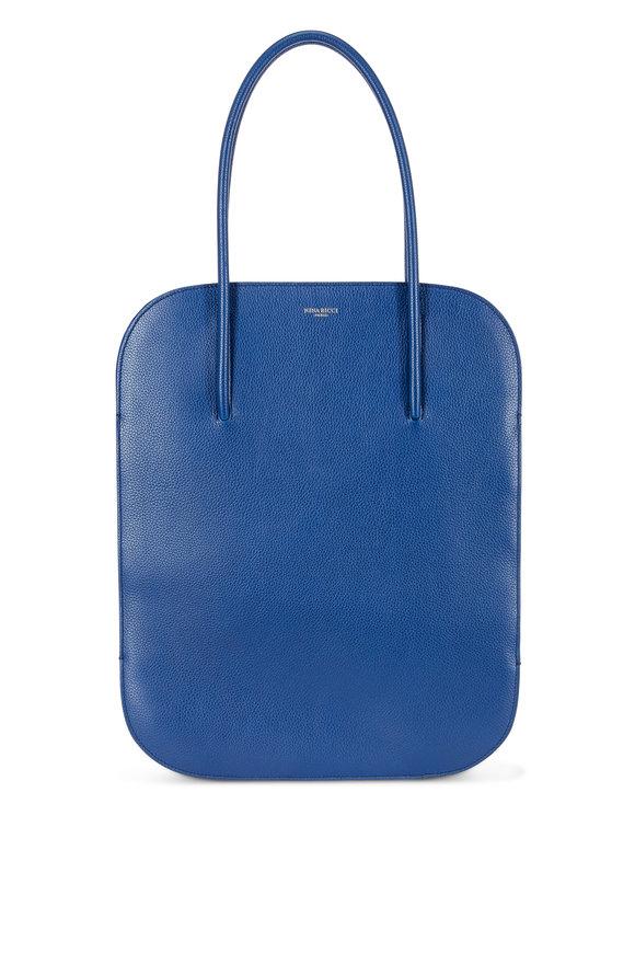 Nina Ricci Irrisor Blue Grained Leather Flat Medium Tote