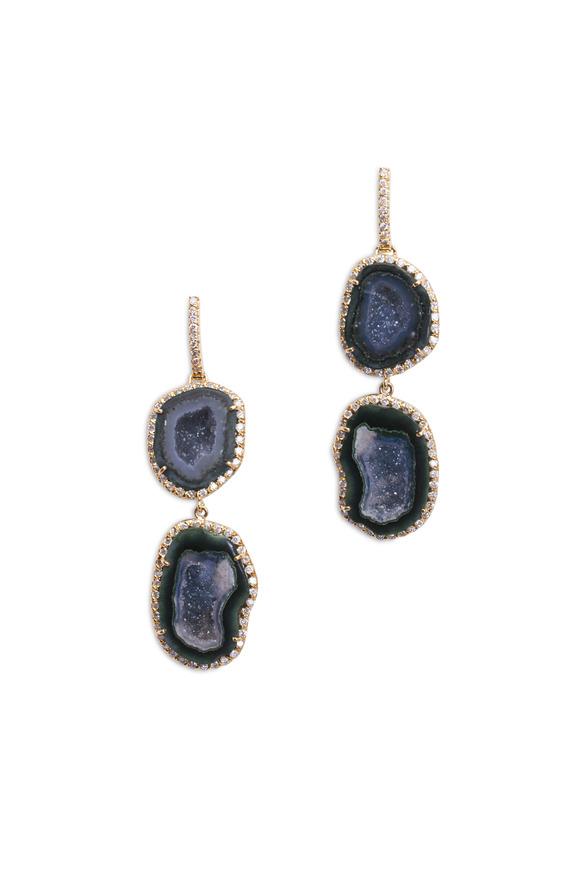 Kimberly McDonald Yellow Gold Double Blue Geode Diamond Earrings