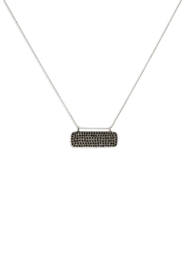 Black Spinel Pendant White Gold Chain Necklace