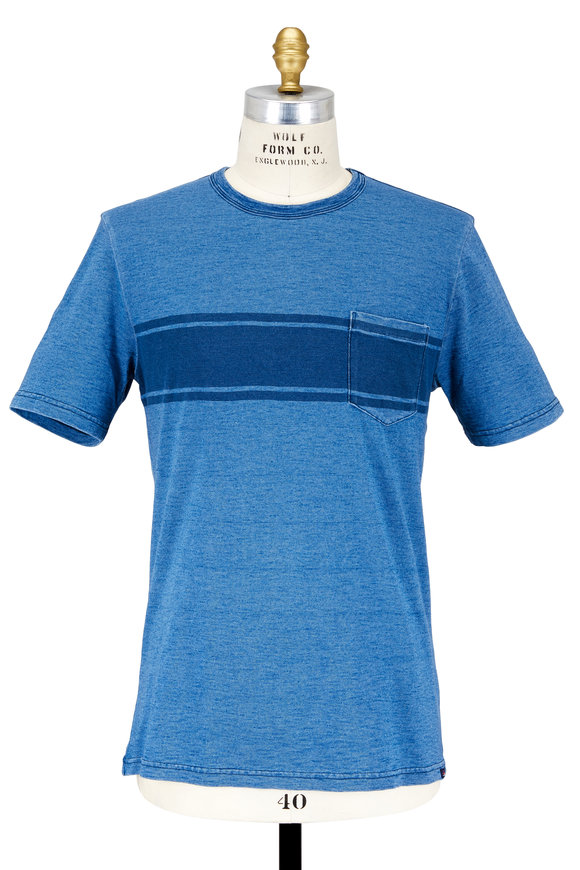 Faherty Brand Indigo Surf Stripe Patch Pocket T-Shirt