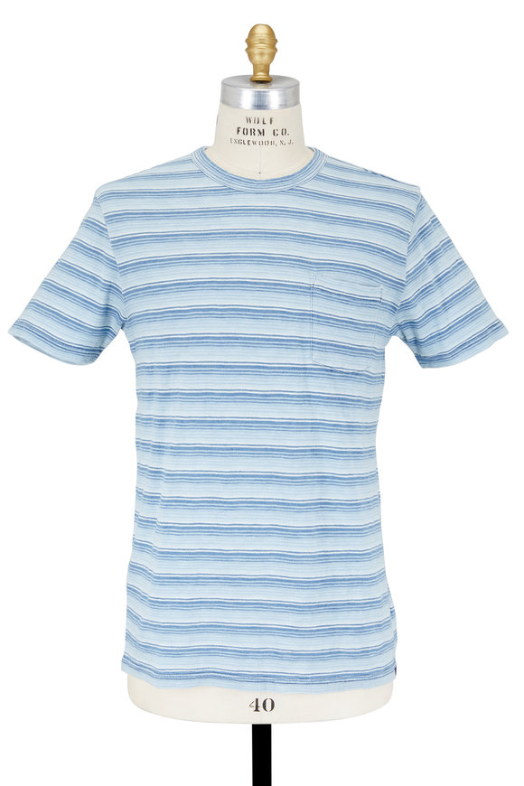 Faherty Brand Indigo Striped Patch Pocket T-Shirt