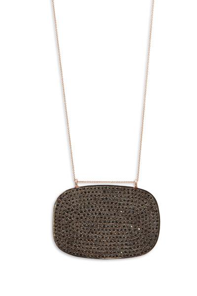 Tulah Jem - Rose Gold Black Diamond Pendant Necklace