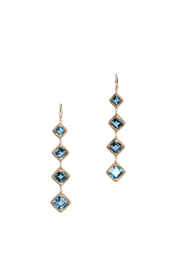 Dana Kellin 14K Gold London Blue Topaz Drop Earrings