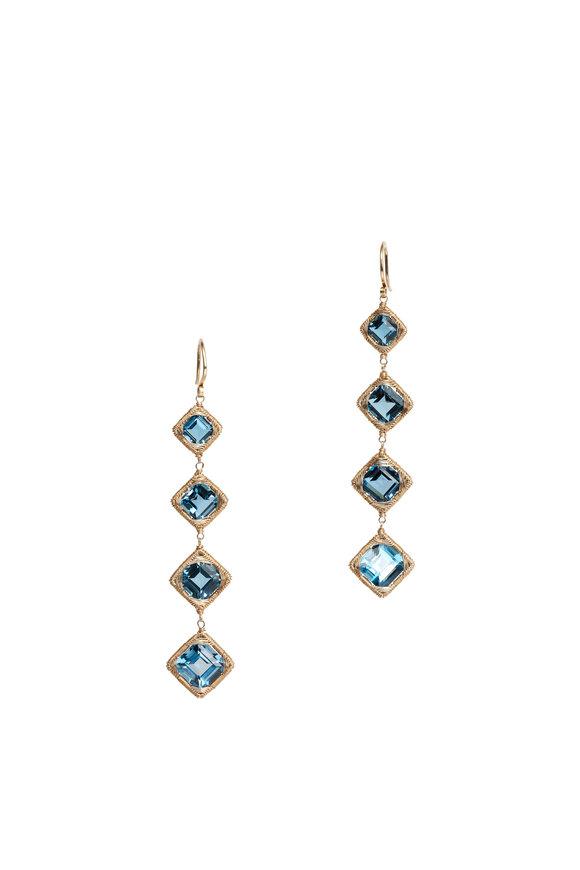 Dana Kellin 14K Gold London Blue Topaz Drop Earrings