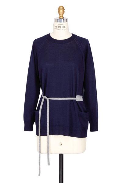 Prada - Lana Navy Blue Button Back Belted Sweater