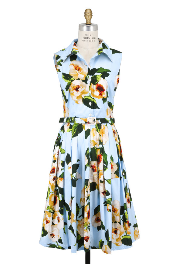 Samantha Sung Claire Light Blue Dahlia Sleeveless Belted Dress